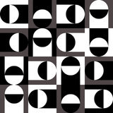 Intersecting black and white squares and circles on a purple background. Seamless pattern with black and white circles and squares stock illustration