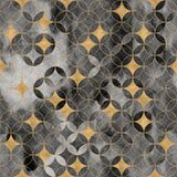 Intersecting circles, golden stars seamless pattern. Watercolor geometric circle background