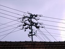 Intersecting Electrical Wires Royalty Free Stock Photos