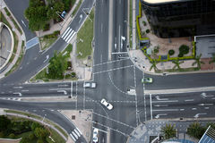 Intersection. Top view of an intersection Stock Photo