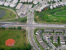 Intersection. Traffic intersection near residential community in Canada Royalty Free Stock Images