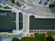 Intersection from above via drone Stock Photo