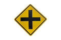 Intersection ahead road sign isolated on white background Royalty Free Stock Photography