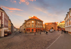 Intersection of ancient streets in the evening. Warsaw. Poland. Stock Photography