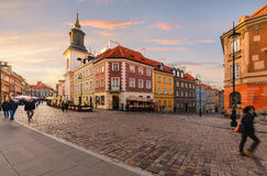 Intersection of ancient streets in the old town of Warsaw Stock Images