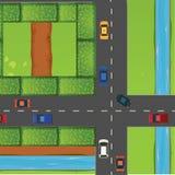 Intersection avec beaucoup de voitures Photos libres de droits