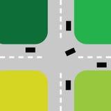 Intersection avec le vecteur de couleur de voitures Photos libres de droits