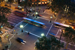 Intersection in Barcelona at night Stock Photo