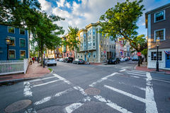 Intersection and beautiful houses in Charlestown, Boston, Massac Stock Images