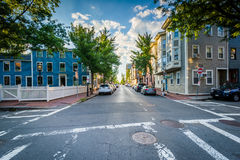 Intersection and beautiful houses in Charlestown, Boston, Massac Stock Photography