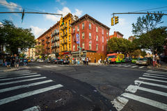 Intersection of Bedford Avenue and Sixth Street in Williamsburg, Stock Image