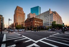 The intersection of Berkeley and Newbury Streets, in Back Bay, B Royalty Free Stock Images