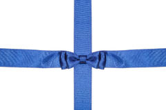 Intersection blue ribbon and satin band with bow Royalty Free Stock Images