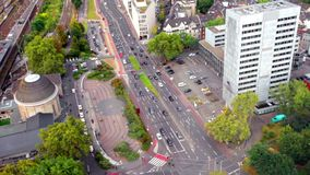 Intersection with a brisk traffic in Berlin Royalty Free Stock Photo