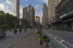 Intersection of Broadway and Fifth Avenue Stock Images