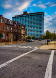 Intersection and buildings in Baltimore, Maryland. Royalty Free Stock Image