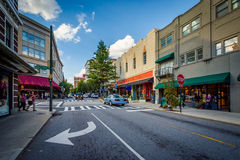 Intersection and buildings in downtown Asheville, North Carolina Stock Photos