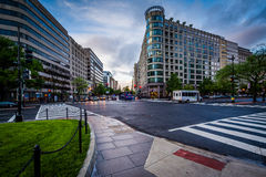 Intersection and buildings at McPherson Square, in Washington, D Royalty Free Stock Photography