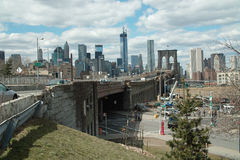Brooklyn Bridge On Ramp, New York. Intersection of Cadman Plaza East, Prospect Street and Washington Streets, the on ramp to Brooklyn Bridge, DUMBO Brooklyn royalty free stock photo