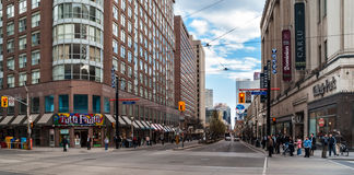 Intersection of Carlton, College and Yonge in Toronto. Intersection of Carlton, College and Yonge Street in Toronto, Ontario, Canada. In existance since 1794 Royalty Free Stock Images