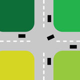 Intersection with cars color vector Royalty Free Stock Photos