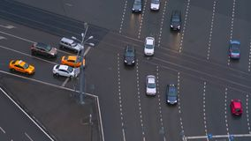 The intersection with cars, top view stock footage