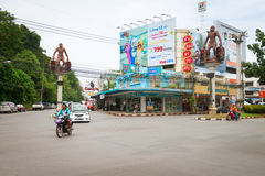 Intersection in central Krabi Town, with giant caveman statues, Stock Photography