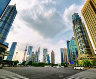 Intersection of Century Avenue and Lujiazui Ring Road, Shanghai Royalty Free Stock Photos
