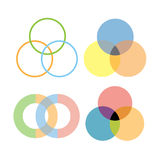 Intersection circles design. Vector intersection circles graphic design Stock Photos