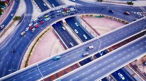 Intersection de cirque de manche de route de vue aérienne de vue supérieure Tiré pour Image stock