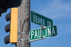 Intersection de la commande et de la Paulina Street d'Obama en parc de Calumet, l'Illinois Photos stock