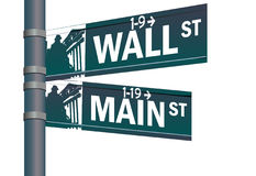 Intersection de rue principale de Wall Street Photos stock