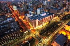Intersection de ville de Sapporo Photographie stock