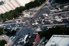 Intersection in downtown Beijing Stock Photo