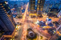 Intersection in downtown Seoul, korea royalty free stock image
