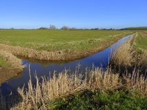 Intersection of drainage ditches. An intersection of drainage ditches on the Somerset Levels in England Stock Photos