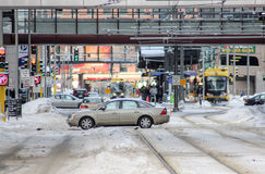 Intersection du centre en hiver Images stock