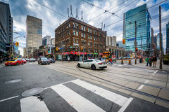 The intersection of Dundas Street and Bay Street, in Toronto, On Royalty Free Stock Image