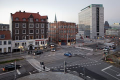 The intersection of Dynkarken and Europaplands in November, Aarhus. Royalty Free Stock Images