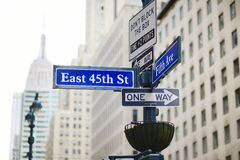 Intersection of East 45th street and 5th Ave in New York Stock Image
