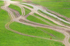 The intersection is expensive. Mountain labyrinth of tracks. Stock Photo