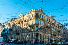 The building at intersection in St. Isaac`s square in Saint Petersburg, Russia. royalty free stock photos