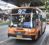 92 Intersection improvements - Victory Monument. Bangkok, Thailand , September 11, 2015 92 Intersection improvements - Victory Monument Bangkok bus car on the royalty free stock images