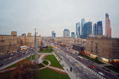 Intersection of Kutuzov Avenue and Large Dorogomilovskaya Royalty Free Stock Images