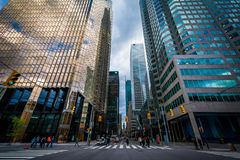 An intersection and modern skyscrapers in downtown Toronto, Onta Royalty Free Stock Photography