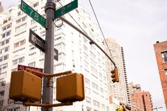 Intersection at 2nd Ave and 78th Street in NYC Royalty Free Stock Images