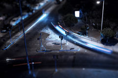 Intersection night view. Intersection on night view. Long exposure causes cars taillights trails Royalty Free Stock Photo