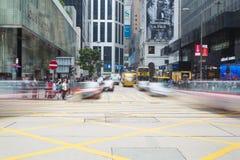 Intersection occupée au central, Hong Kong Photographie stock libre de droits