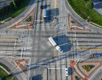 Intersection overhead of traffic following signs. Stock Photo