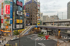 Intersection with overpasses. Crowded intersection at the Ueno Station in Tokyo, Japan Stock Photography